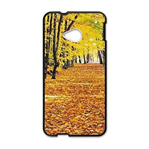 Personalized Cell Phone Case For HTC M7,charming yellow forest and fallen leaves ground beauty autumn scene