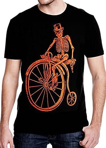 SFYNX 'Graveyard Shift' Mens Rave T Shirt - EDM Clothing - Black Light Reactive Tee (Large) - Back Music Light T-shirt