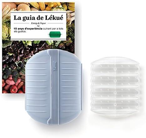 Compra Lekue - Estuche de vapor, Con bandeja y libro en Catalán, Gris azulado, 3 - 4 personas (1400ml) en Amazon.es