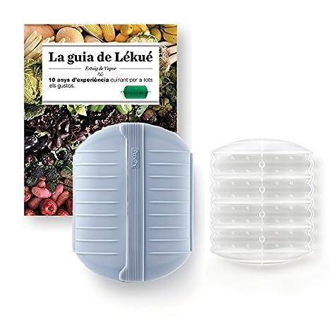 Lekue - Estuche de vapor, Con bandeja y libro en Catalán, Gris azulado, 3 - 4 personas (1400ml)