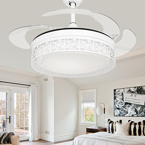 TiptonLight White Retractable Ceiling Fan-36 Inch with Three