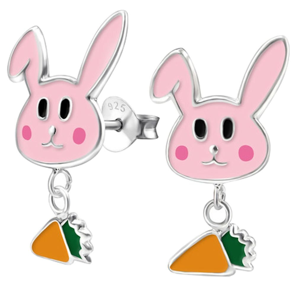 Childrens 925 Sterling Silver Rabbit and Hanging Carrot Ear Studs Epoxy Color So Chic Jewels