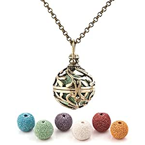 Third Time Charm Natural Lava Rock Stone Tree Of Life Necklace For Essential Oil Diffuser Aromatherapy Jewelry With 6 Lava Beads (Bronze Plated)