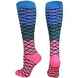 MadSportsStuff Neon Mermaid Over The Calf Socks (Electric Blue/Teal/Neon Pink, Medium)