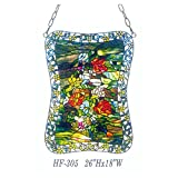 HF-305 Tiffany Style Stained Glass Green Theme Blooming Flower Window Hanging Glass Panel Sun Catcher, 26''Hx18''W
