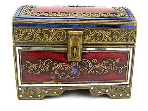 Blue Orchid Thai Handmade Wooden Decorative Trinket Box Jewelry Treasure Chest 9'' (Sapphire) by Blue Orchid