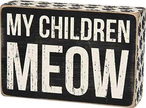 (Primitives by Kathy Paw-Print Trimmed Box Sign, Children Meow)