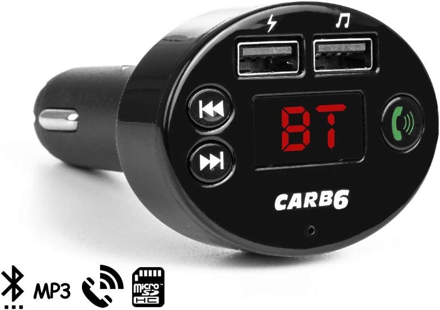 DAM. DMZ131BK. Manos Libres Bluetooth Carb6 para Coche con Transmisor FM. Cancelación De Eco Y Supresion De Ruido (CVC). Apagado Automático. Negro
