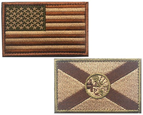 HFDA 2 piece US Flag and BK FLORIDA Flag Patches Velcro Mora