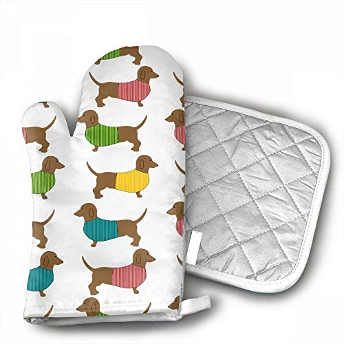Dachshund Dog Cute Wallpaper Oven Mitts,Professional Heat Re
