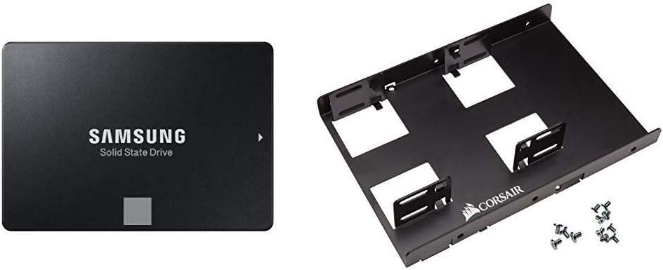 "Samsung 860 EVO 2 TB 2.5 Inch SATA III Internal SSD (MZ-76E 2TB/AM) & Corsair Dual SSD Mounting Bracket 3.5"" CSSD-BRKT2"