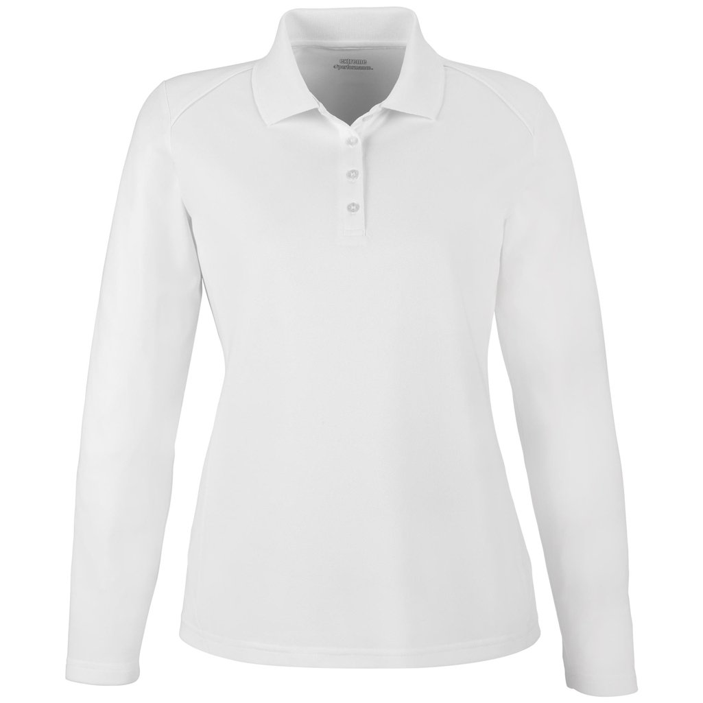 Ash City Ladies Armour Long Sleeve Polo (XX-Large, White) by Ash City Apparel