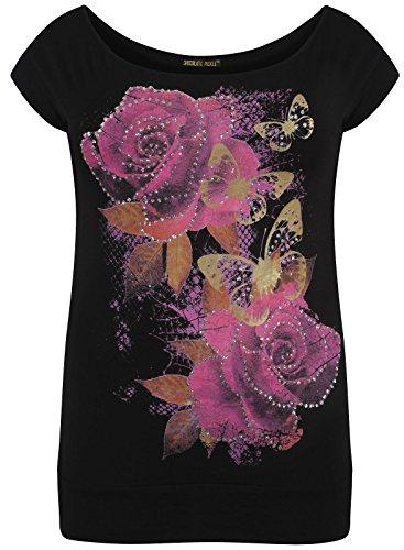 Encolure beurre T Mesdames Cerise Pickle Black Shirts Volez Paillettes Hauts Nouveaux Chocolate florale pagXtw