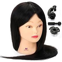 "Neverland Beauty 100% Human Hair Cosmetology Mannequin Doll Head 20"" Smooth Black Hair Practice Training Hair Styling Manikin Head + Clamp #1B"