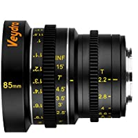 Veydra V1-85T22M43I Mini Prime 85mm T2.2 Imperial Cinema Lens with Manual Focus, Black
