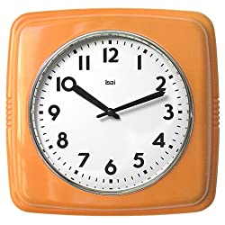 BAI Square Retro Wall Clock, Orange