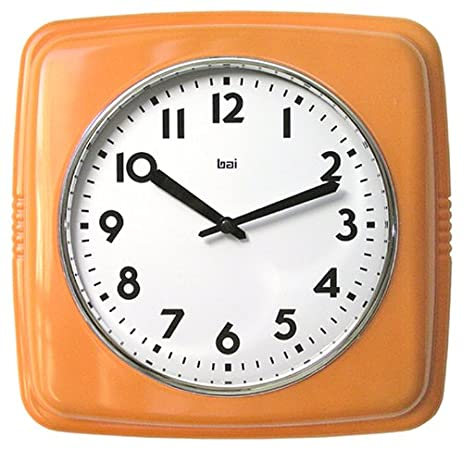 Bai Square Retro Wall Clock, Orange