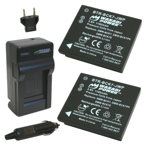 Wasabi Power Battery (2-Pack) and Charger for Panasonic DMW-BCK7, NCA-YN101G, DE-A91, DE-A92 and Panasonic Lumix