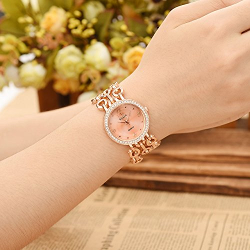 Top Plaza Women Elegant Fashion Bracelet Analog Quartz Watch Rose Gold Tone Rhinestone Case Big Face Large Dial Wide Band Waterproof Cuff Watch by Top Plaza (Image #1)