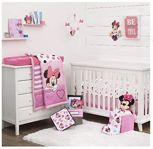 (Disney Minnie Mouse Loves Dots, Pink, White, and Black 4-Piece Nursery Crib Bedding Set)