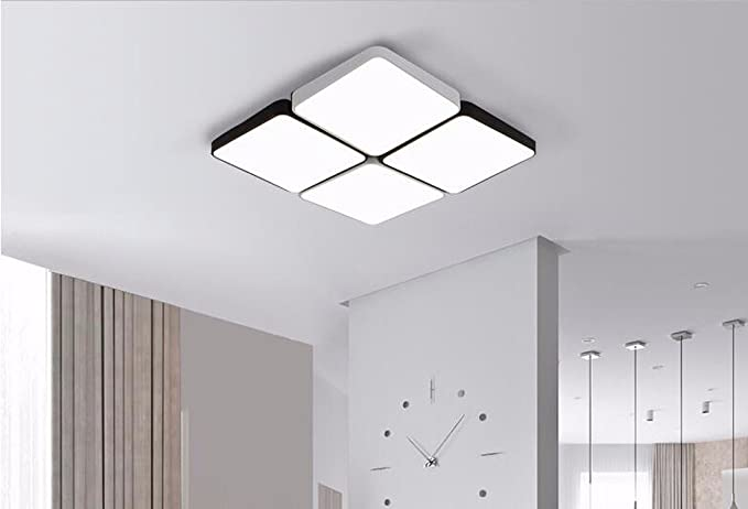 Plafoniere liwenlong lampada da soffitto led in bianco e nero ferro