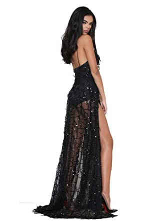 Khaleesi Women V Neck Spaghetti Strap Halter Sequin 2 Split Gown Party Maxi Dress Black S