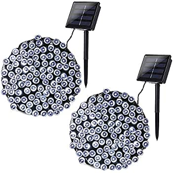 Joomer 2 Pack Solar Christmas Lights 72ft 200 LED 8 Modes Solar String Lights, Waterproof Solar Fairy Lights for Garden, Patio, Home, Wedding, Party, Christmas Decorations (White)