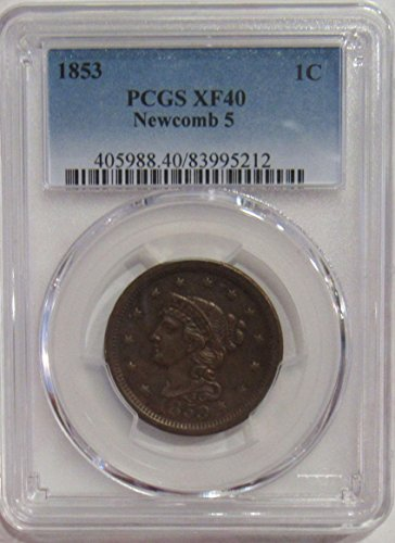 1853 Large Cent - 1853 Braided Hair Large Cent 1c XF40 PCGS Newcomb 5