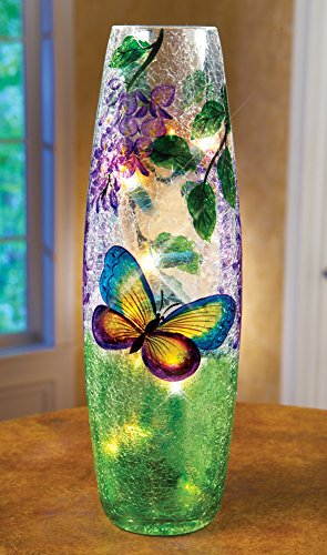Pretty Lighted Hurricane Glass Lamp Butterfly Home Accent Decor Table Top (Green Glass Hurricane)