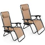 Oshion 1 Pair Zero Gravity Chairs Black Lounge Patio Chairs Outdoor Yard Beach New (Tan)