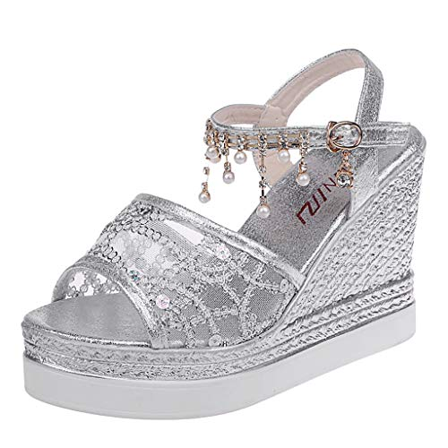 TOOPOOT Sandals for Women, Summer Shoes Wedges Crystal Buckle Peep Toe Causal Shoes Sandals Silver