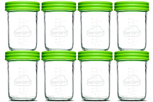 Nellam Baby Food Storage Containers – Leakproof, Airtight, Glass Jars for Freezing & Homemade Babyfood Prep - Reusable, BPA Free 8 x 8oz Set that is Microwave & Dishwasher Safe