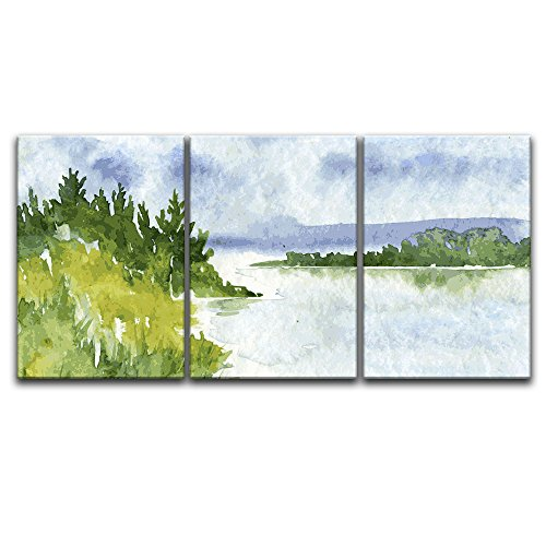 3 Panel Watercolor Style Trees Calm Lake x 3 Panels