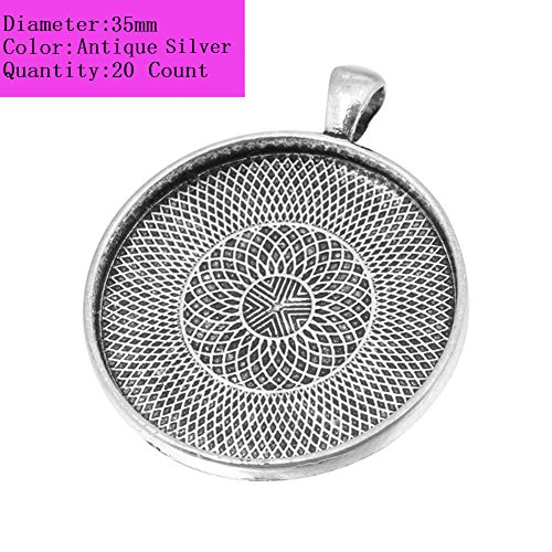 AKOAK 20 Pieces 35mm Diameter Antique Silver Round Pendant Trays Pendant Blanks Cameo Bezel Cabochon Settings for Photo Charm or Cabochon ()