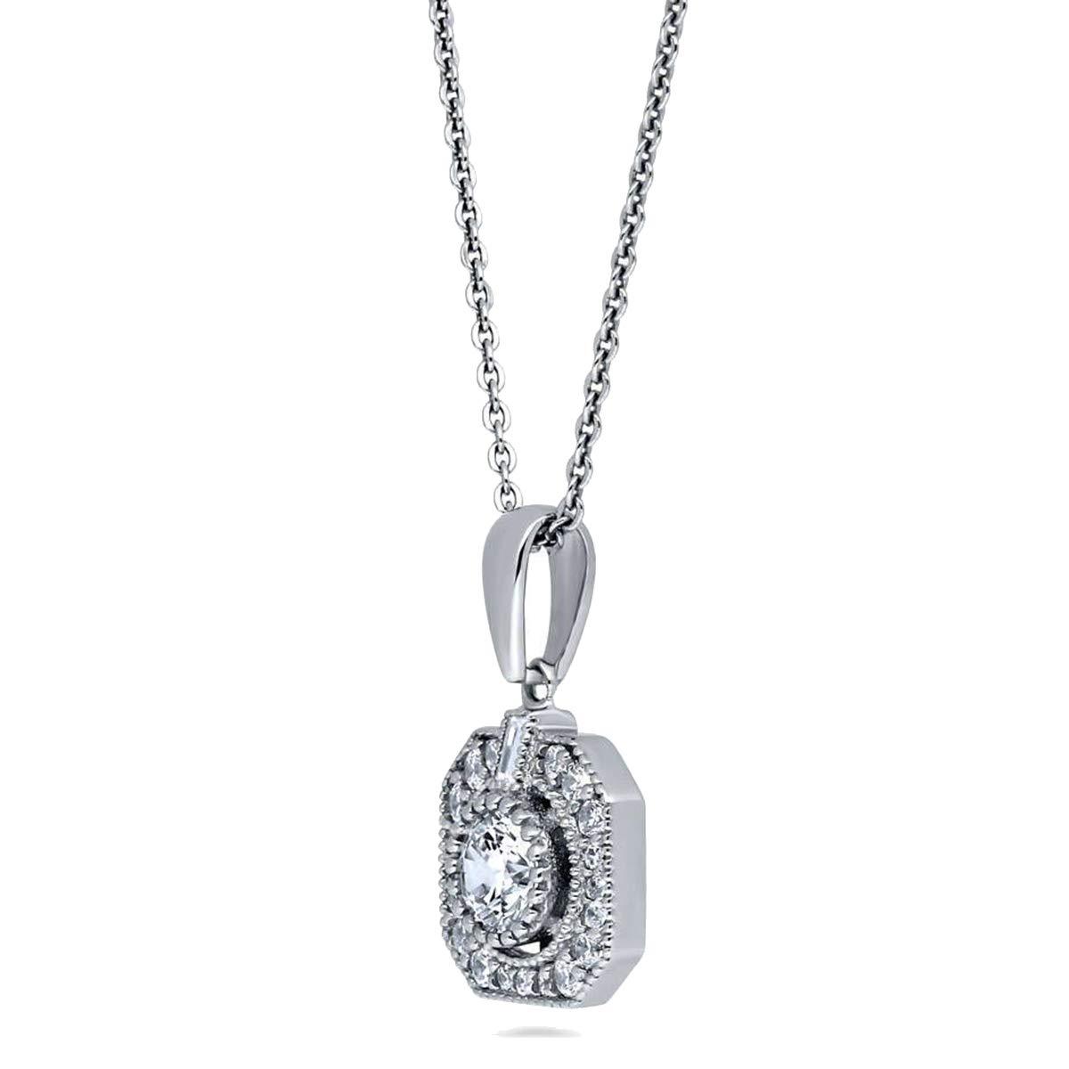 0.25 Ct Baguette /& Round Simulated Diamond Milgrain Halo Pendant 10K White Gold W// 18 Chain .925 Silver