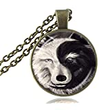 (US) Vintage Ying and Yang Wolf Necklace Grey Black Animal Pendant Glass Cabochon Bronze Chain Choker Neckless