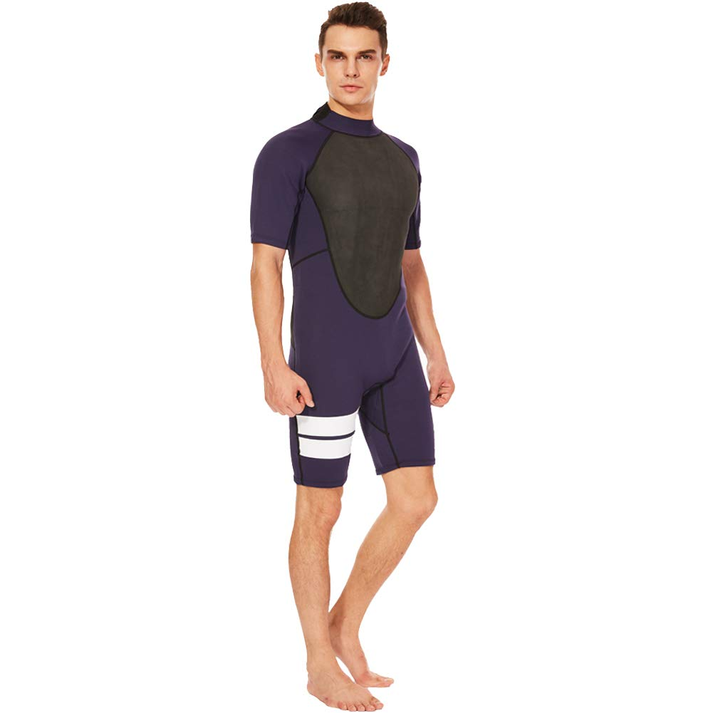 Realon Shorty Wetsuit Men 3mm Surfing Suit Diving Snorkeling Swimming Jumpsuit (2mm Shorty Navy, Large) by Realon (Image #4)