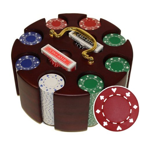 200 Ct Suited 11.5 Gram Poker Chip Set in Wooden Carousel ()