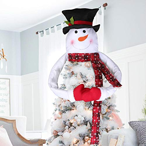 Aerwo Snowman Christmas Tree Topper With Cotton Filled Arm Handmade Christmas Snowman Top Of The Tree Hugger For Christmas Tree Ornament