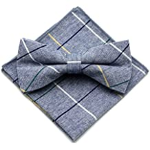 Secdtie Men's Cotton Plaid Pre-tied Bow Ties Pocket Square Set for Formal Tuxedo