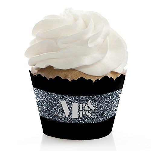 Mr. & Mrs. - Silver - Wedding Cupcake Wrappers -