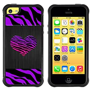 BullDog Case@ Zebra Stripes Heart Brushed Metal Purple Rugged Hybrid Armor Slim Protection Case Cover Shell For iphone 5C CASE Cover ,iphone 5C case,iphone5C cover ,Cases for iphone 5C