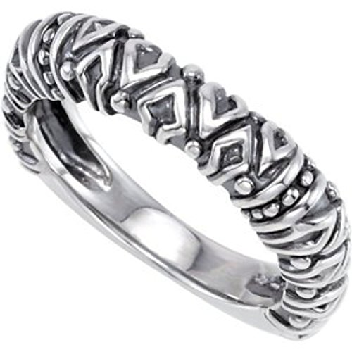 Raised Tribal Pattern 4.5mm Stackable Sterling Silver Ring, Size 7 by The Men's Jewelry Store (for HER)