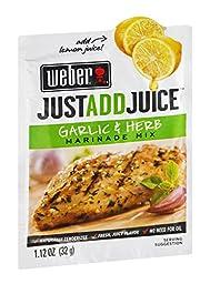 Weber Just Add Juice Marinade Mix Garlic & Herb 1.12 OZ (Pack of 24)