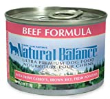 Natural Balance Beef and Brown Rice Formula Dog Food (Pack of 12 6-Ounce Cans), My Pet Supplies