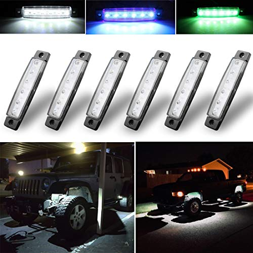 Botepon 6Pcs Led Rock Lights, Strip Lights, Wheel Well Lights, Led Underglow Kit for Golf Cart, Jeep Wrangler, RZR, Offroad, F150, F250, Snowmobile -
