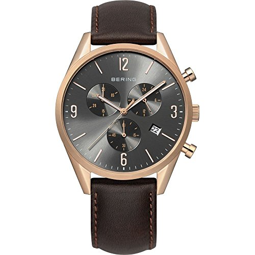 BERING Time 10542-562 Mens Classic Collection Watch with Calfskin Band and scratch resistant sapphire crystal. Designed in Denmark.