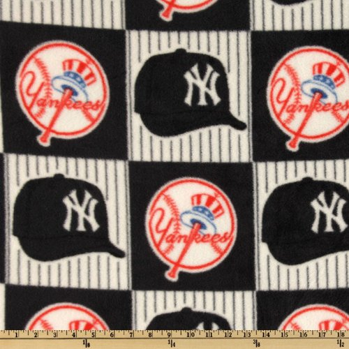 MLB Fleece New York Yankees Blocks Blue/Red/White Fabric By The Yard