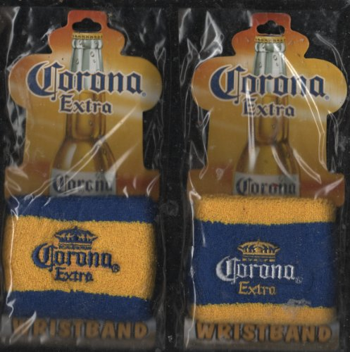 Corona Extra Wristbands (Bundle Set of 2 Styles) Imported Beer Pale Lager Man Cave Collectible Advertising - Standard Size Fits Most Discontinued by Manufacturer