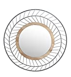 Privilege 32016 Round Iron & Wood Mirror